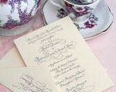 Wedding Calligraphy--Hand Written Invitation Image---The Savannah Style with Flourish