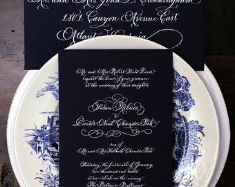 Calligraphy Wedding Invitation---The Savannah Font With Flourishes