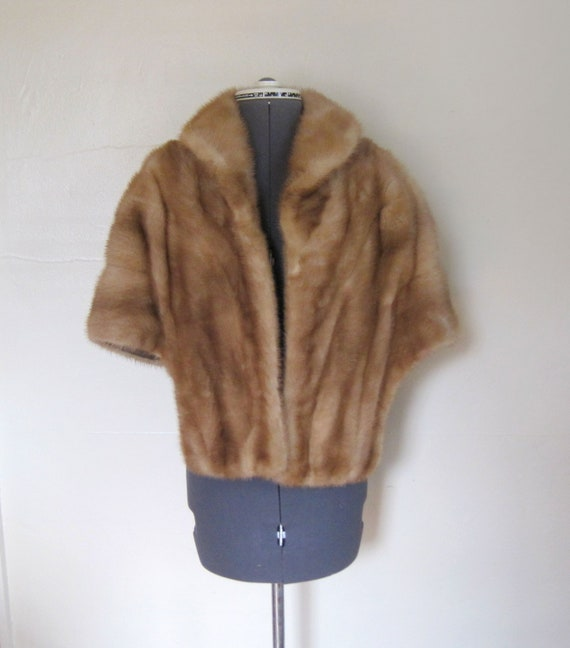 40s 50s Honey Blonde Mink Fur Stole Capelet with Pockets