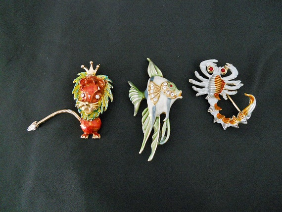 Figural Jewelry // THREE Brooches // 60s Vintage // Signed & Enamelled // NO Shipping Charges