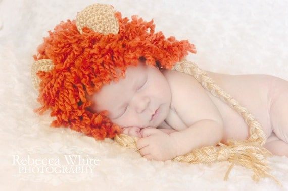 Crochet Lion Hat and Diaper Cover - Photography Prop - Newborn
