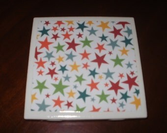 Sale...Stars, Stars and More Stars...Ceramic Drink Coasters...Set of 4...Full Cork Bottoms