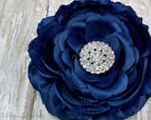 Bridesmaid Navy Flower Hair Clip with Rhinestone Center, Bridal Hair Accessory for Women