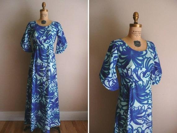 Reserved // Vintage 1960s 1970s Dress Hawaiian Maxi Dress Hawaii Nei Honolulu