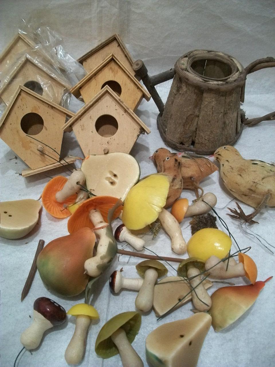 rustic set of 31 terrarium supplies vintage mushroom plant