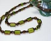 Copper, Copper & Copper with Green Glass Beaded Necklace and Copper Toggle