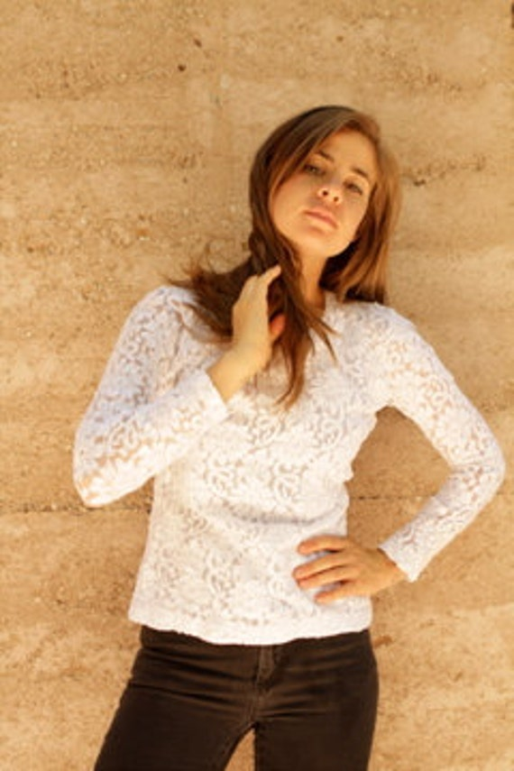 90s LACE sheer WHITE thin long sleeve top