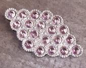 Retro Chic Diamond Shaped Rhinestone Brooch in Light Amethyst