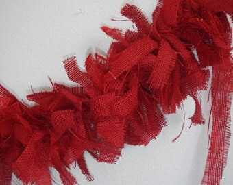 Burlap Garland, Red Burlap Garland, use for Wedding, Party, Shower, Home Decor, Mantle Swag, Custom Size Available