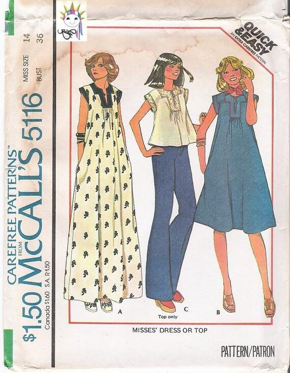 70s Womens Dress Patterns Top Patterns Maxi Dress Patterns 1970s Patterns McCalls 5116 Size 14 Uncut FF Vintage Supplies YacketUSA