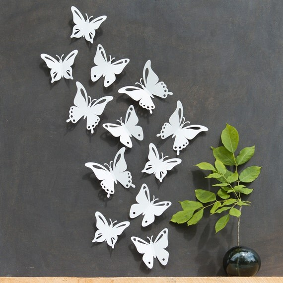 White Butterfly Wall Decor 3D Set of 12 PopArt Made in