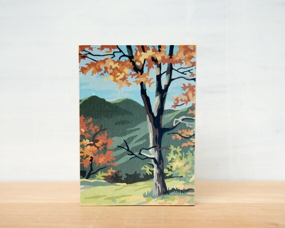 SALE - Paint by Number Small Art Block - 'Fall Landscape'