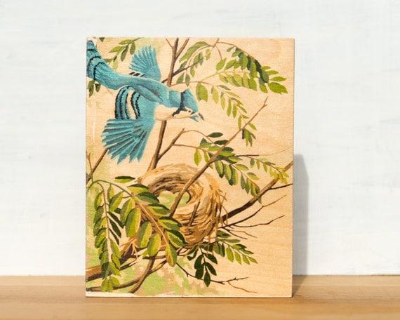 "Bluejay Paint by Number Large Artblock -  8"" x 10"", vintage, trees, nest, bird"
