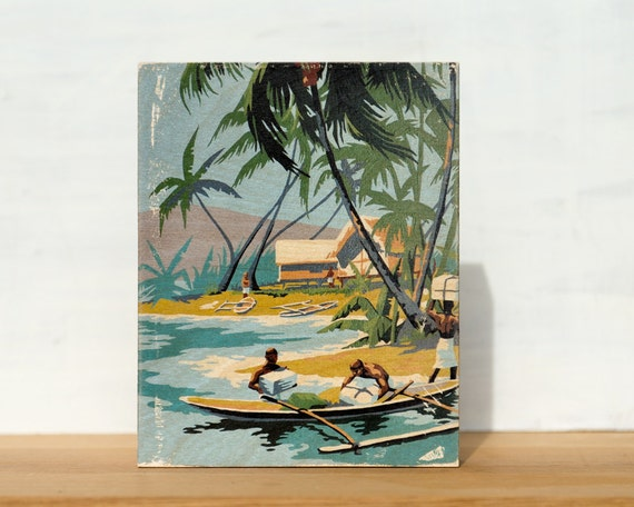 "Tropical Scene with Canoe Paint by Number Large Art Block -  8"" x 10"", vintage, beach scene, palm trees"