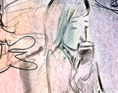 lady with wine print