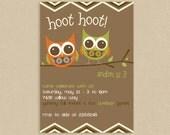 Printable Birthday Invitation 5x7 Hoot Hoot Party Owl