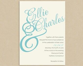 5x7 Robin's Egg Calligraphic Names Printable Wedding Invitation