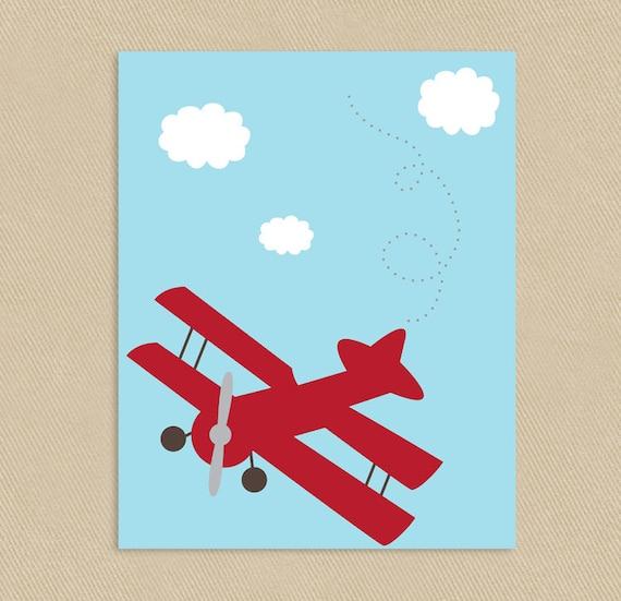 Red Airplane Printable Art 8x10 Little Aviator Vintage