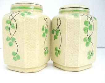 "Vintage Made in Japan 5"" Salt & Pepper Shakers with Green Clover Design"