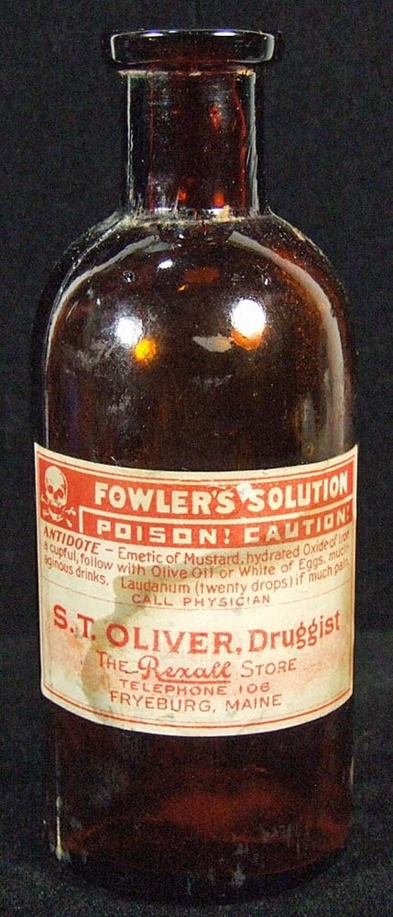 Vintage Fowlers Solution Brown Poison Bottle from Fryeburg Maine