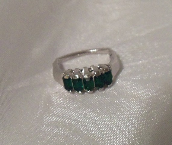 vintage vendome emerald green ring with silver by