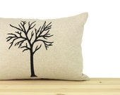 12x18 Tree Decorative Throw Pillow Case in Black, Natural Beige And Geometric Greek Key Accent | Nature Print | Modern Lumbar Cushion Cover