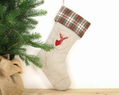 Rustic Woodland Christmas Stocking - Red deer print on natural canvas with red, green and white plaid cuff