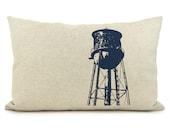 Water tower tank pillow - Navy blue & natural beige 12x18 lumbar toss pillow case - Industrial and Modern decorative cushion cover