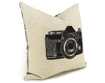 16x16 Modern Pillow Cover | Camera Photography Print | Modern and Industrial Home Decor | Black and Natural Back with Geometric Pattern Back