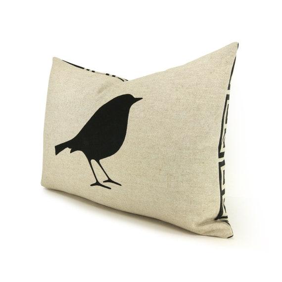 Bird Pillow Cover | 12x18 Lumbar Pillow Case | Black, Natural Beige & Geometric Back | Modern Decorative Pillow Cover | Hand Printed Bird