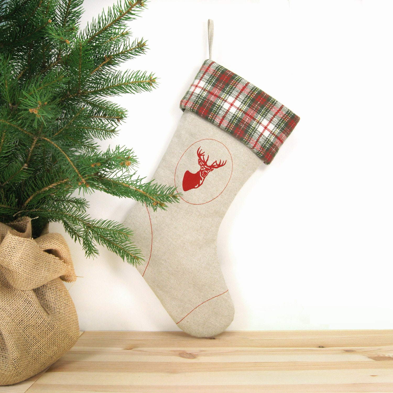 Rustic Woodland Christmas Stocking Red deer print on natural