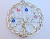 SILVER-FILLED Mother's Braided Family Tree - Swarovski Crystal Personalized Custom Original Design