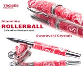 Rollerball Pen Red White Swarovski crystals, highest quality writing pens