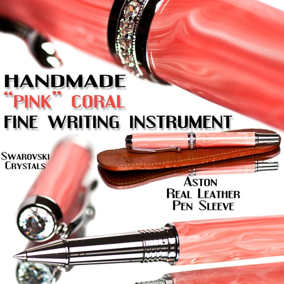 Pink pen coral trustone Rollerball fine writing instrument Swarovski crystal, ceramic tipped, high gloss polish