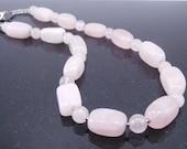 Pink Necklace Rose Quartz Breast Cancer Awareness