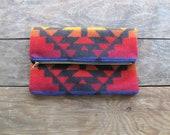 Geometric Pendleton Wool Clutch White Purple Tan Orange