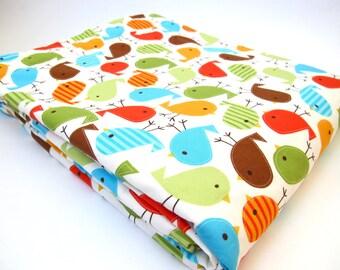 Bird Baby Blanket - Robert Kaufman - Urban Zoologie - Cream Minky Dot - 30 x 36