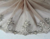 2 Yards Coffee Grey Tulle Lace Trim Black Embroideried Tulle Lace 11 Inches Wide