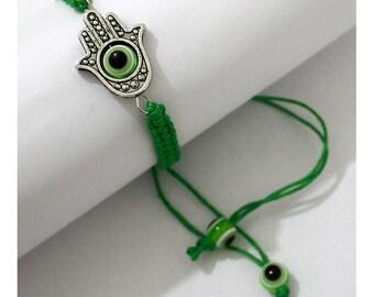 Hamsa Hand Evil Eye Lucky Charm Green Judaica Bracelet     - Bangle String Wrap with Rotating Eye