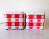 Vintage Red Gingham Checked Tins, Kitchen Storage Canisters Red and White Retro Cabin Style