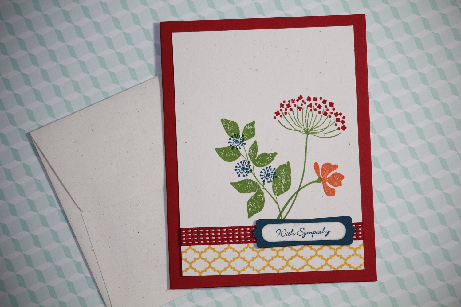 one handmade sympathy condolence card with hand stamped