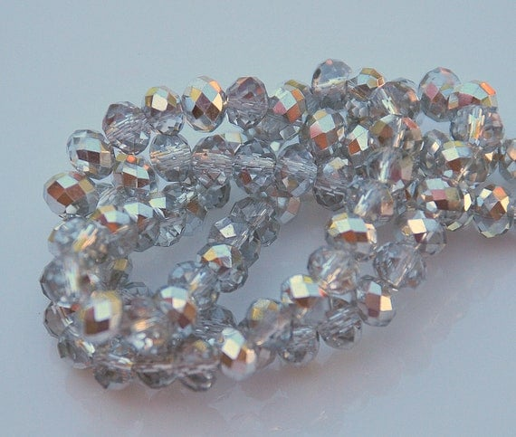 20 Half Silver Half Clear 6x4 Faceted Rondelles
