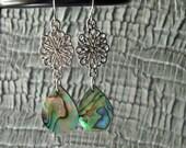 Delicate, Teardrop Paua Shell Earrings (sw160)