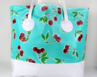 Oversized Turquoise Beach Bag , Oilcloth Beach Bag