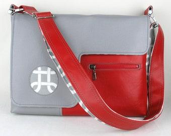 "SALE! Vegan Laptop Bag in Gray and Red, 17"", 15"", 13"" vinyl laptop bag"