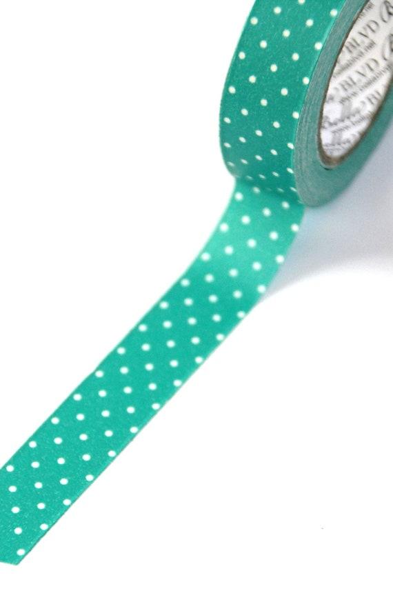 1 Roll of Bella Blvd Teal Green Gulf Polka Dot Designer Tape / Washi Tape (.50 inches x 30 feet)