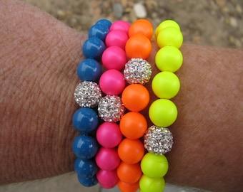 Neon Swarovski Silver Pave Bead Stretch Bracelet - Multi Colors