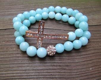 Baby Blue Jade Rose Gold Pave Crystal Sideways Cross Bracelets - Set of 2