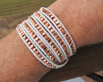 Nugget Rose Gold Beaded Leather Wrap Bracelet - ON SALE