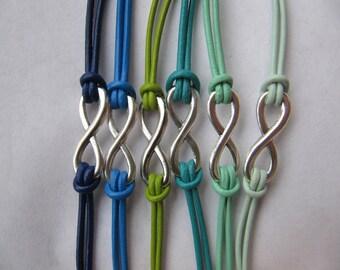 USA Seller - Leather Infinity Charm Friendship Love Single Charm Wrap Bracelet
